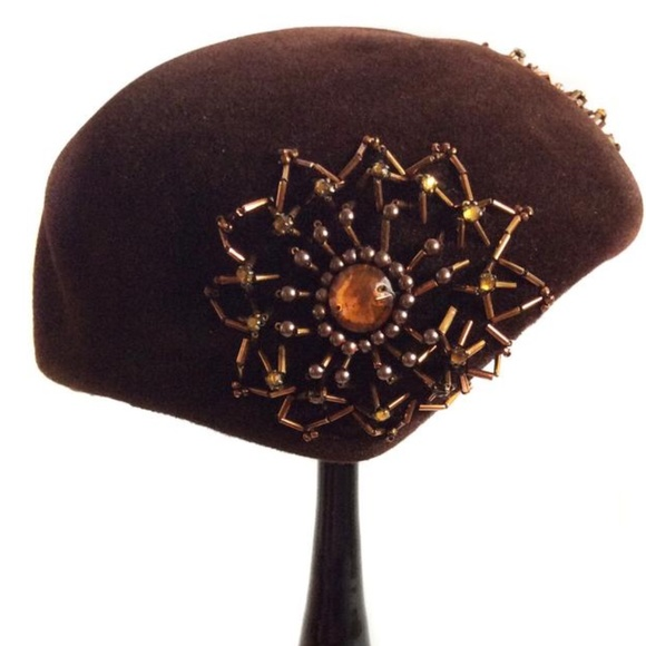 Vintage Carol Velour Beaded Hat